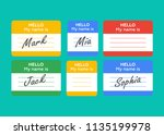 name tag banner. name tag set.... | Shutterstock .eps vector #1135199978