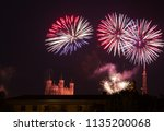 fireworks at cathedral... | Shutterstock . vector #1135200068