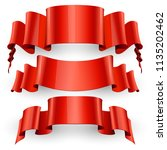 ribbons set. realistic red... | Shutterstock .eps vector #1135202462