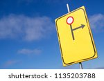 dutch road sign  diversion to... | Shutterstock . vector #1135203788