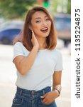 summer portrait of beautiful... | Shutterstock . vector #1135224875