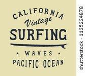 surfing california beach badge. ... | Shutterstock .eps vector #1135224878