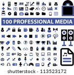 100 professional media icons... | Shutterstock .eps vector #113523172