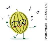cute watermelon cartoon... | Shutterstock .eps vector #1135237478