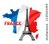 eiffel tower on map of france.... | Shutterstock .eps vector #1135241495