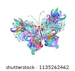 rainbow butterfly from patterns | Shutterstock .eps vector #1135262462