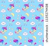 cute unicorn seamless pattern.... | Shutterstock .eps vector #1135274438