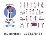 female black scientist ready to ... | Shutterstock .eps vector #1135278485