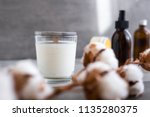 organic scented soy candle on... | Shutterstock . vector #1135280375