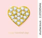 vector hand drawn jewel on pink ... | Shutterstock .eps vector #1135285646