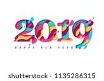 2019 happy new year paper craft ... | Shutterstock .eps vector #1135286315