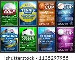 sport poster set vector. tennis ... | Shutterstock .eps vector #1135297955
