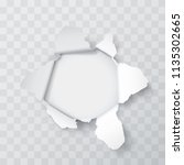 explosion paper hole on the... | Shutterstock .eps vector #1135302665