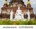 wat yai chai mongkhol in... | Shutterstock . vector #1135306436