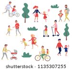 young parents spending time... | Shutterstock .eps vector #1135307255