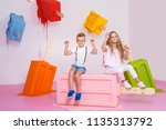 children  the boy and girl are... | Shutterstock . vector #1135313792