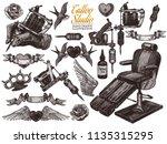 vector hand drawn tattoo studio ... | Shutterstock .eps vector #1135315295