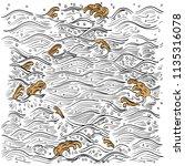 japanese wave pattern vector.... | Shutterstock .eps vector #1135316078