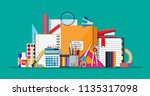 stationery set icons. book ... | Shutterstock .eps vector #1135317098
