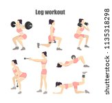 set of leg workout. woman doing ... | Shutterstock .eps vector #1135318298