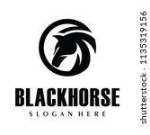 black horse  king horse logo... | Shutterstock .eps vector #1135319156