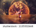 surreal space view as a girl... | Shutterstock . vector #1135332668