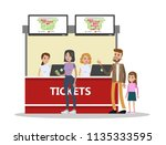 people buying cinema tickets at ... | Shutterstock .eps vector #1135333595