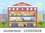school building interior and... | Shutterstock .eps vector #1135333628