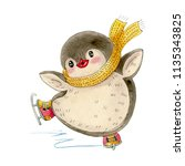 winter illustration with funny... | Shutterstock . vector #1135343825