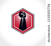 revolution leader abstract sign ... | Shutterstock .eps vector #1135352756
