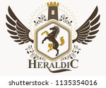 classy emblem made with eagle... | Shutterstock .eps vector #1135354016