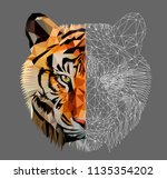 low poly triangular tiger head... | Shutterstock .eps vector #1135354202