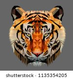 Stock vector low poly triangular tiger head on dark background vector illustration eps isolated polygonal 1135354205
