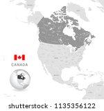 grey vector map of canada with... | Shutterstock .eps vector #1135356122