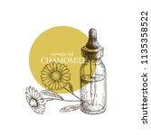 hand drawn set of essential oil.... | Shutterstock .eps vector #1135358522
