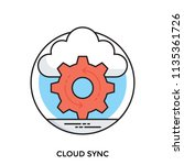 a cogwheel and cloud sign... | Shutterstock .eps vector #1135361726