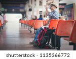tourist in the ancient city.... | Shutterstock . vector #1135366772