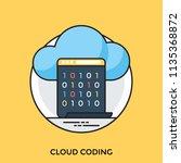 binary digit codes in a screen ... | Shutterstock .eps vector #1135368872