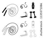 measuring tape  water bottle ... | Shutterstock .eps vector #1135371086