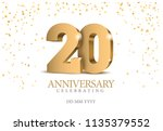 anniversary 20. gold 3d numbers.... | Shutterstock .eps vector #1135379552