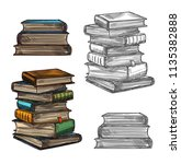 book stack sketch for education ... | Shutterstock .eps vector #1135382888