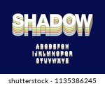 long shadow rainbow typography... | Shutterstock .eps vector #1135386245