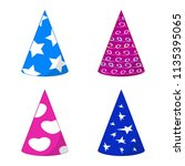 set of paper holiday caps ... | Shutterstock .eps vector #1135395065