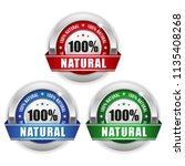 three 100  natural badges with... | Shutterstock .eps vector #1135408268