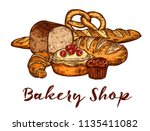 bakery shop sketch of wheat... | Shutterstock .eps vector #1135411082