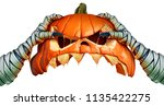 Stock photo mummy monster halloween pumpkin hand holding a creepy pumpkin head jack o lantern that is as a 1135422275