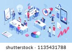 people in open space office... | Shutterstock .eps vector #1135431788