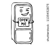 """happy winking fridge with text """"... 