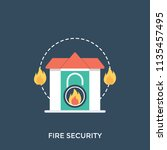 a house on fire with a lock... | Shutterstock .eps vector #1135457495