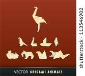vector origami animals | Shutterstock .eps vector #113546902